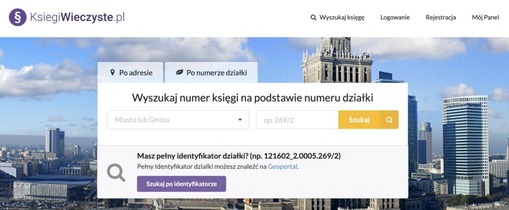 Wyszukiwanie księgi wieczystej po numerze działki na stronie Ksiegiwieczyste.pl