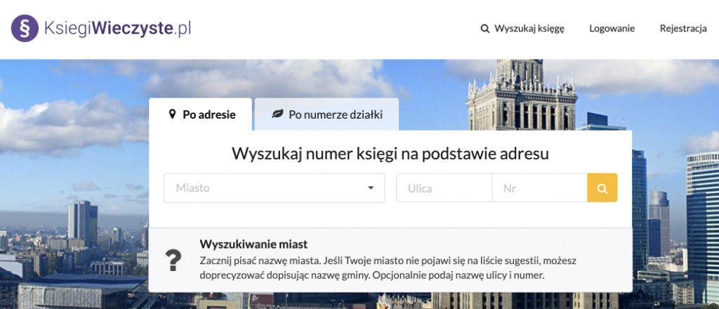 Wyszukiwanie księgi wieczystej po adresie nieruchomości na stronie Ksiegiwieczyste.pl