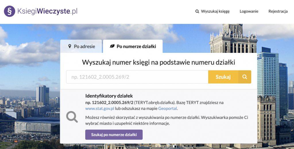 Wyszukiwanie księgi wieczystej po numerze/identyfikatorze działki na stronie Ksiegiwieczyste.pl