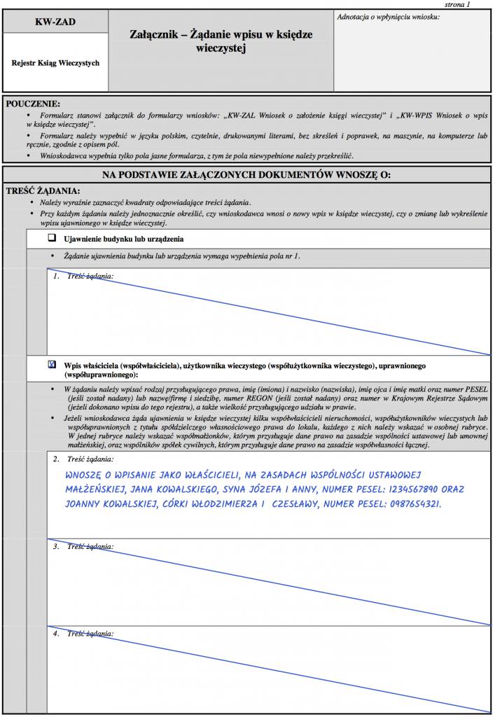 Strona 1 - Załącznik KW-ZAD - żądanie wpisu właścicieli do księgi wieczystej.