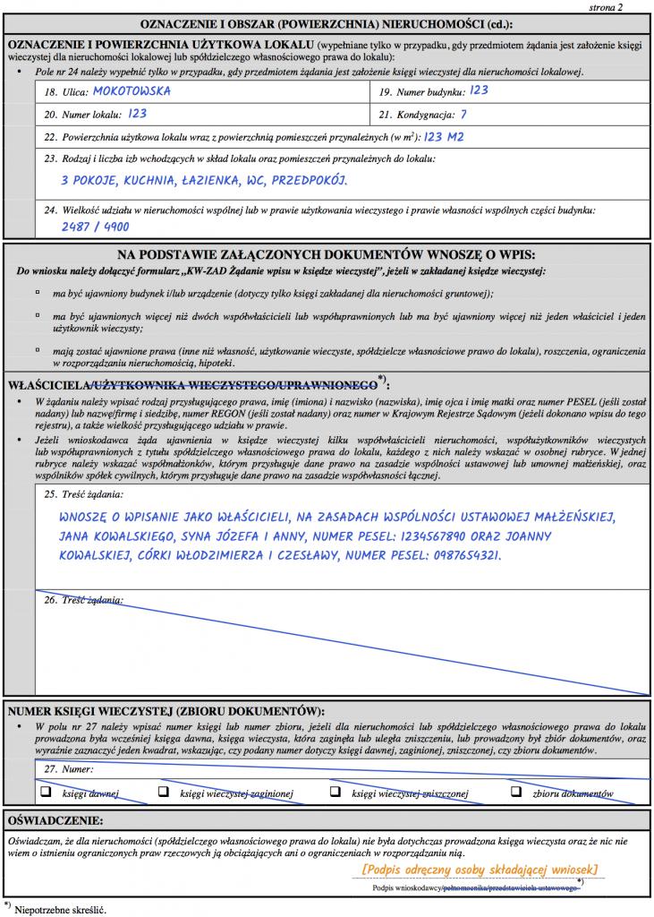 Strona 2 - Wniosek KW-Zal o założenie księgi wieczystej dla nieruchomości lokalowej.
