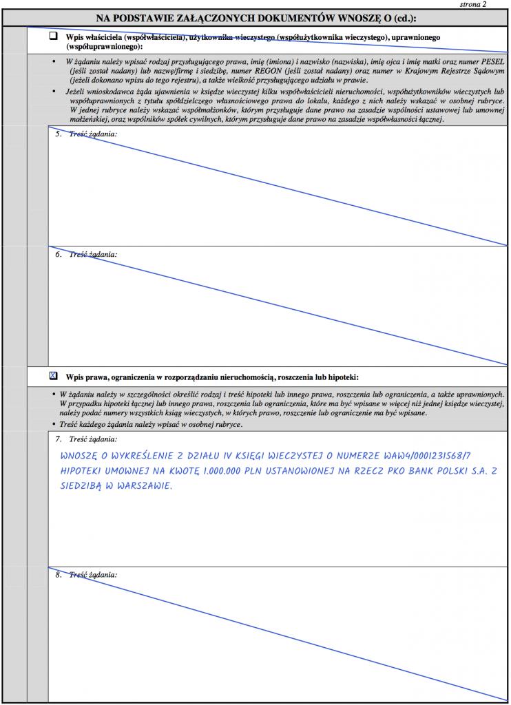 Strona 2 – Wniosek KW-WPIS o wykreślenie hipoteki z księgi wieczystej.