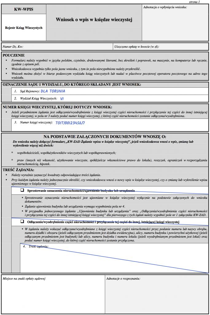 Strona 1 wniosku KW-WPIS o wykreślenie służebności osobistej mieszkania z księgi wieczystej.