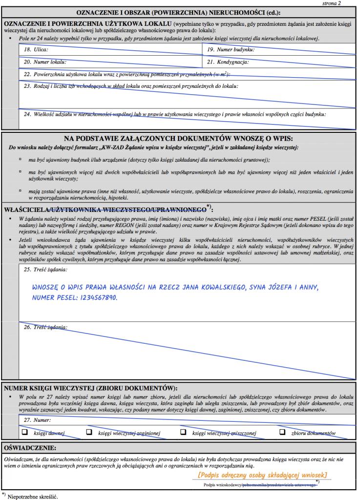 Strona 2 wniosku KW-ZAL o założenie księgi wieczystej dla nieruchomości gruntowej.