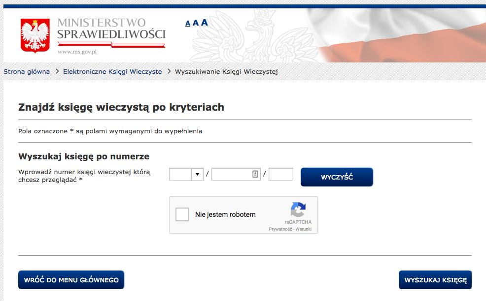System EKW - wyszukiwanie księgi wieczystej.