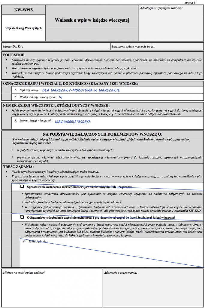Strona 1 – Wniosek KW-WPIS o wpisanie hipoteki w księdze wieczystej.