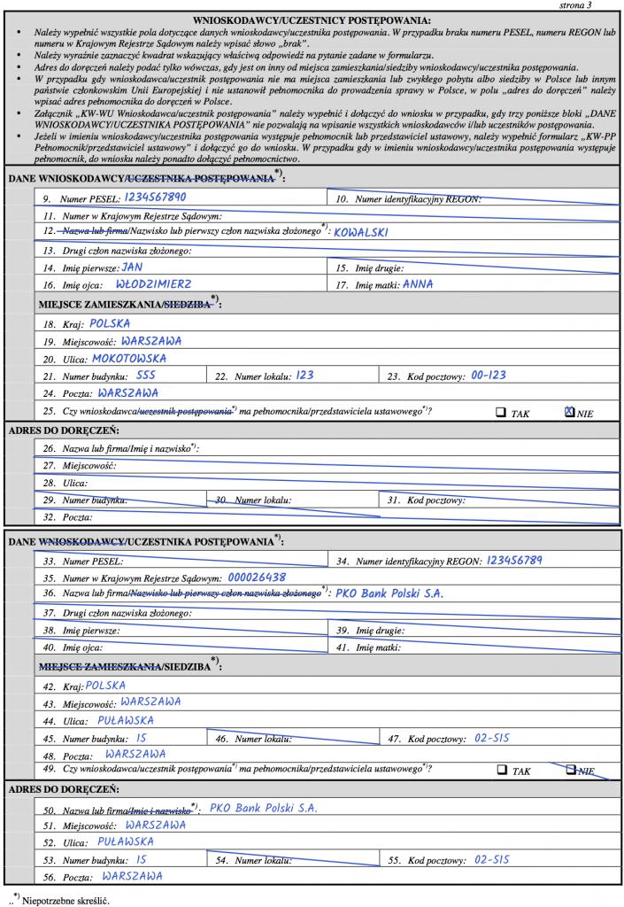 Strona 3 – Wniosek KW-WPIS o wpisanie hipoteki w księdze wieczystej.