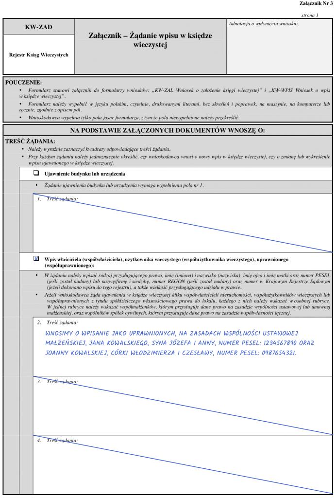 Strona 1 – Załącznik KW-ZAD – żądanie wpisu właścicieli do księgi wieczystej.