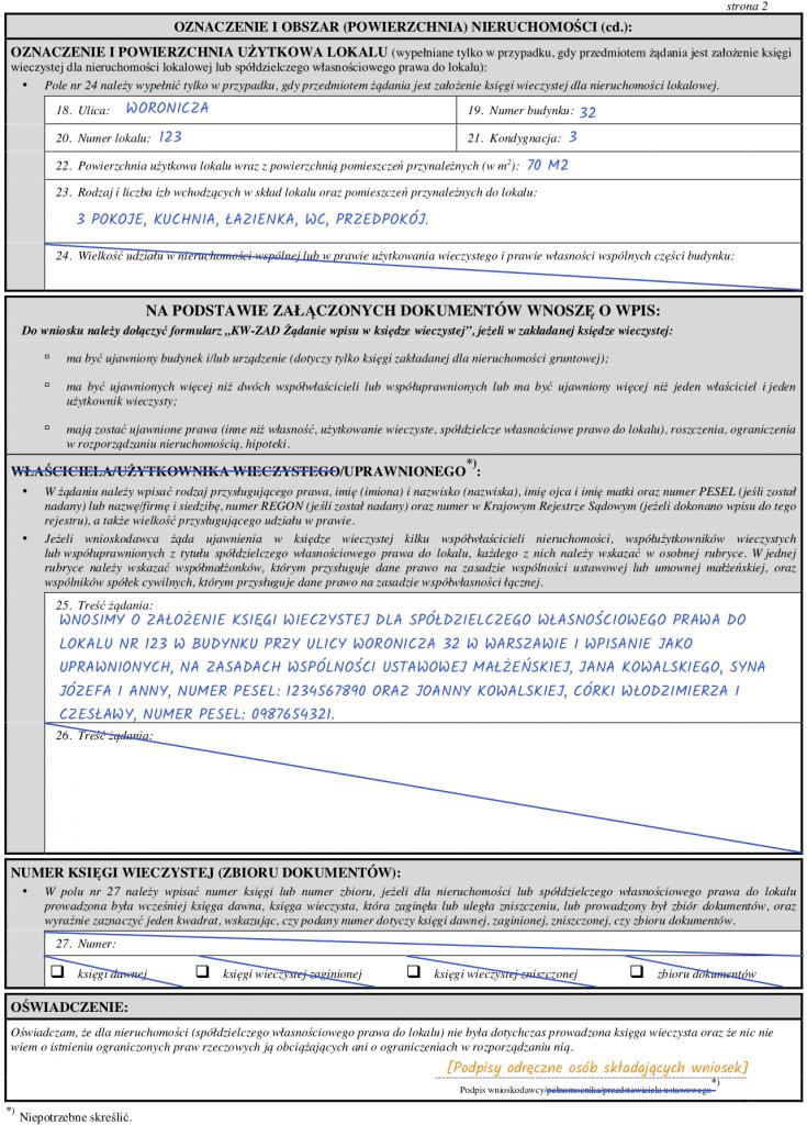 Strona 2 wniosku KW-ZAL o założenie księgi wieczystej dla spółdzielczego własnościowego prawa do lokalu